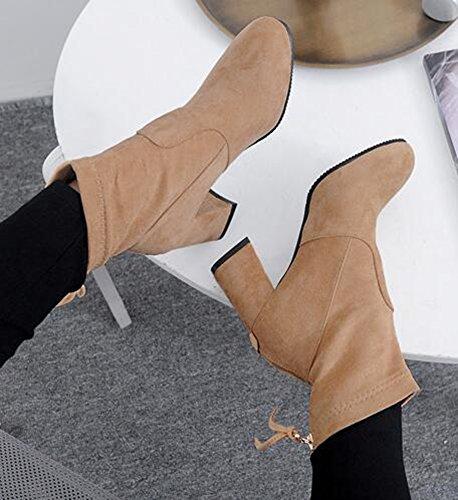 Idifu Kvinners Klassiske Runde Toe Midten Chunky Hæler Faux Suede Kort Ankel Boots Med Glidelås Bak Aprikos