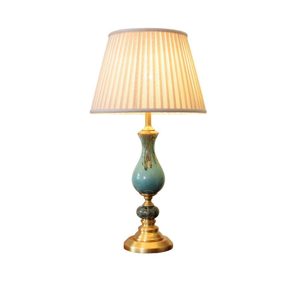 LQQGXL アメリカの銅のセラミックのテーブルランプ、寝室、研究、装飾的なテーブルランプ シンプルなランプ   B07NWJBHF5