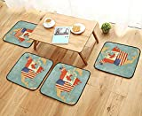 Printsonne Universal Chair Cushions States and Canada Outline Map of The North America in Grunge Stylized Soft Colors Personalized Durable W15.5 x L15.5/4PCS Set