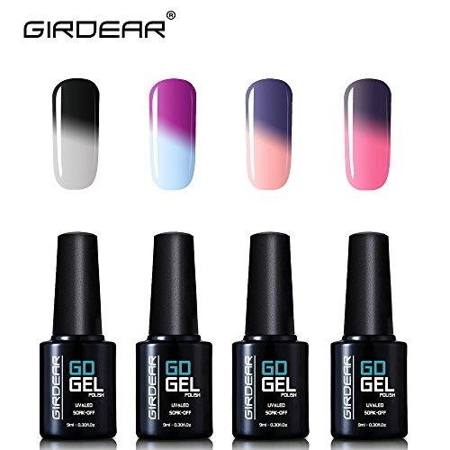 Girdear 4Pcs Gel Nail Polish Soak Off Thermal Temperature Changing Colour UV LED Maniure Gift Set Nail Lacquer Art Kit C030
