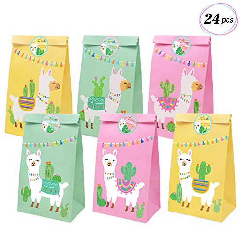 Llama Party Favor Bags Llama Cactus Gift Bags Mexico Fiesta Cinco de Mayo Goodie Treat Bags Themed Baby Shower Birthday Party Supplies, Set of 24]()