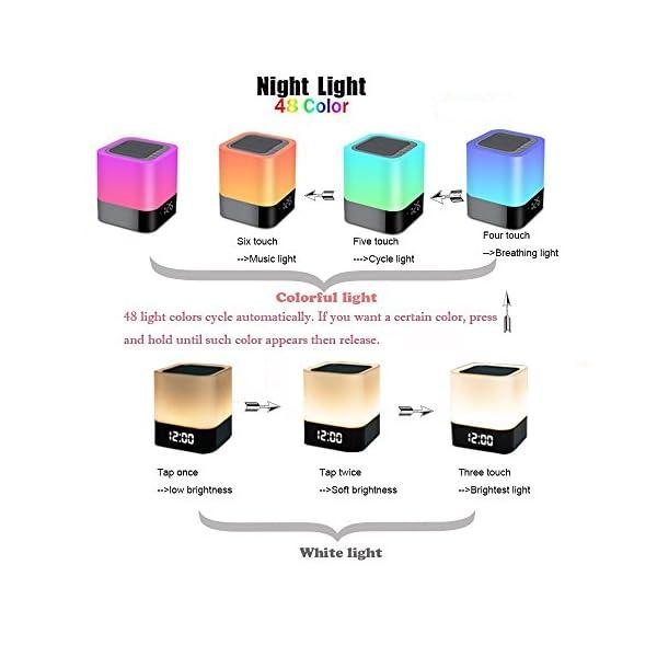 Enceinte Haut-parleur Bluetooth Portable Lampe de Chevet LED avec Contrôle Tactile, Lampe de Table Couleur Changeant la Lumière de Nuit avec le Réveil pour la Chambre 3