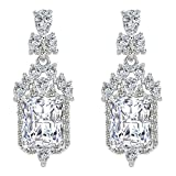 EleQueen 925 Sterling Silver Full Prong Cubic Zirconia Art Deco Victorian Style Bridal Dangle Earrings