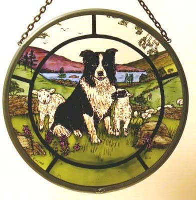 Decorative Hand Painted Stained Glass Window Sun Catcher Roundel in a Collie Dog and Lambs Design.
