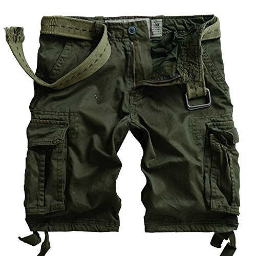 Army Cargo Shorts - MUST WAY Men's Multi Pocket Slim Fit Cotton Twill Cargo Shorts 8062# Army Green 36