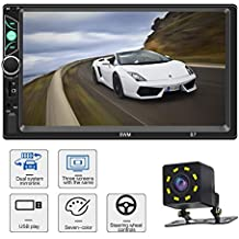 Car Stereo with Bluetooth 7 Inch Touch Screen Double Din Car Stereo with Backup Camera and Steering Wheel Control Support Daul System Mirrorlink