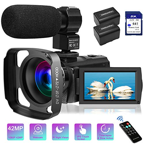 Video Camera Camcorder with Microphone FHD 1080P 30FPS 42MP IR Night Vision Digital Camera For YouTube Vlogging 3 Inch IPS Touch Screen Camcorder Recorder With 64GB SD Card,Remote Controlle, Lens Hood