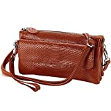 Shalwinn Leather Crossbody Purse Women's Genuine Leather Crossbody Purse Cellphone Pouch Purse Crossbody Bag Wallet Case Purse with Adjustable Strap for Smartphone iPhone Cards (886#Brown)