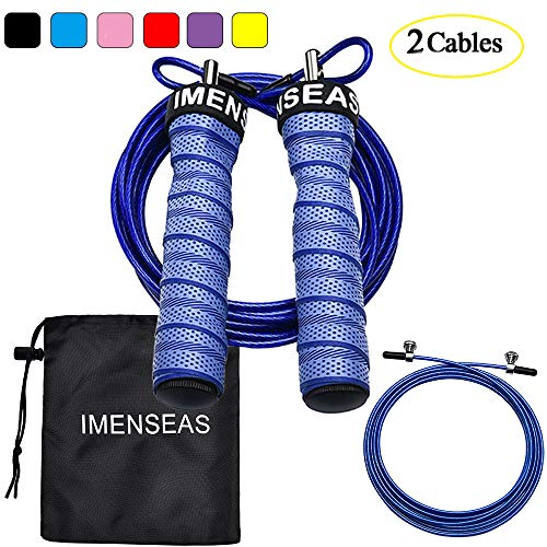 IMENSEAS Speed Jump Rope Workout Steel Wire Adjustable Jumping Ropes  for Men & Women Great for Double Unders, Crossfit Training, Boxing, and MMA Blue