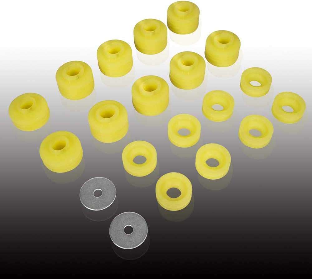 OE Replacement Yellow KF04050BK Body Mount Bushing Kit Fits for Ford F250 F350 1999-2017 Polyurethane Body Mounts