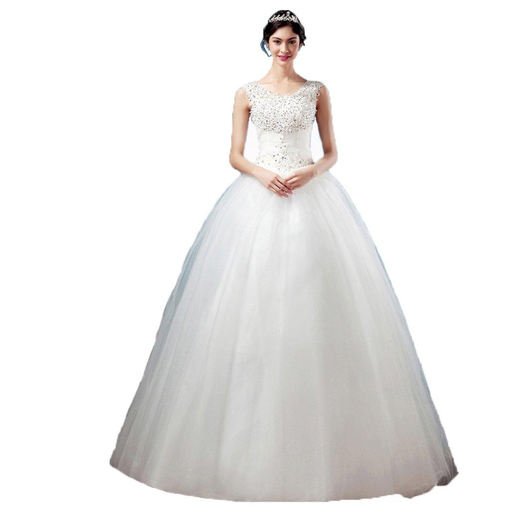 U-Swear Elegant Sleeveless Ball Gown Wedding Dresses White Bridal Gown Size US2 by U-Swear