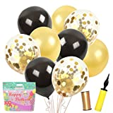 "SWEET PARTY Confetti Balloons and Premium Thick Pearl Latex 12"" Set – 50 Packs Pump Ribbons – Birthday Party Events (Black Gold Pearl)"
