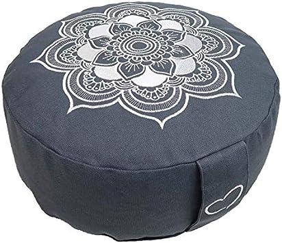 Bezug 100/% Baumwolle waschbar ZAFU RAJA Yoga-Sitzkissen mit Buchweizenschalen sozial und fair hergestellt 15 cm hoch Lotus Design Meditationskissen//Yogakissen rund
