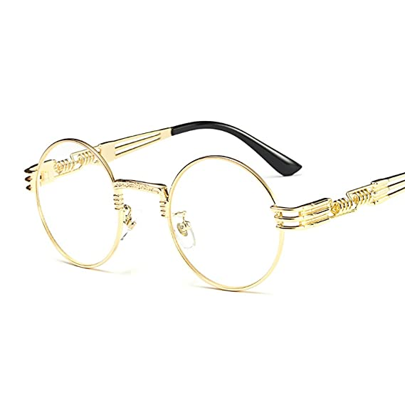Kachawoo Vintage Retro Round Circle Metal Frame Eyeglasses Men Eye