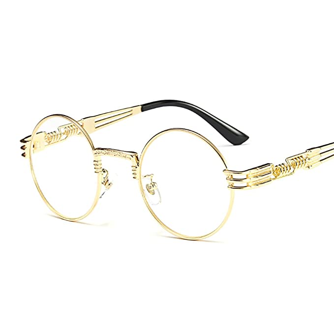 1e1cb0377ae Kachawoo vintage retro round circle metal frame eyeglasses men eye glasses  frames for women (gold with clear)  Amazon.ca  Clothing   Accessories
