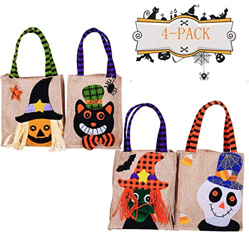 Zoopwon 4 Pack Halloween Trick or Treat Candy Tote Bag, Halloween Linen Party Favor Candy Gift Bag with Handle for Kids Children]()