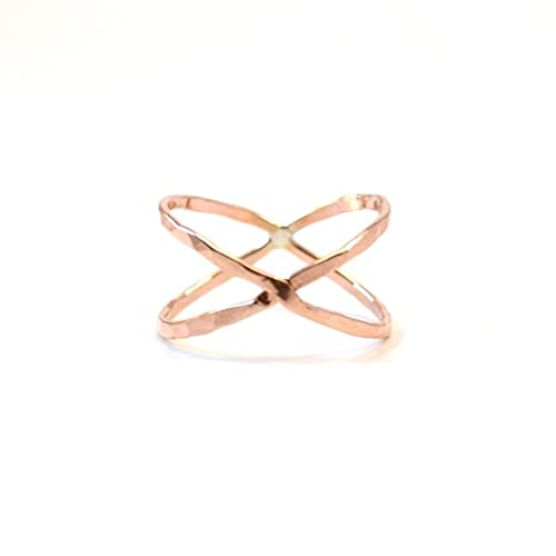 Amazon Rose Gold X Ring Hammered Criss Cross Ring Crossover