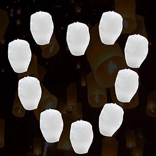 Domire 10 Pcs White Flying Sky Lanterns, Traditional Chinese Flying Glowing Lanterns