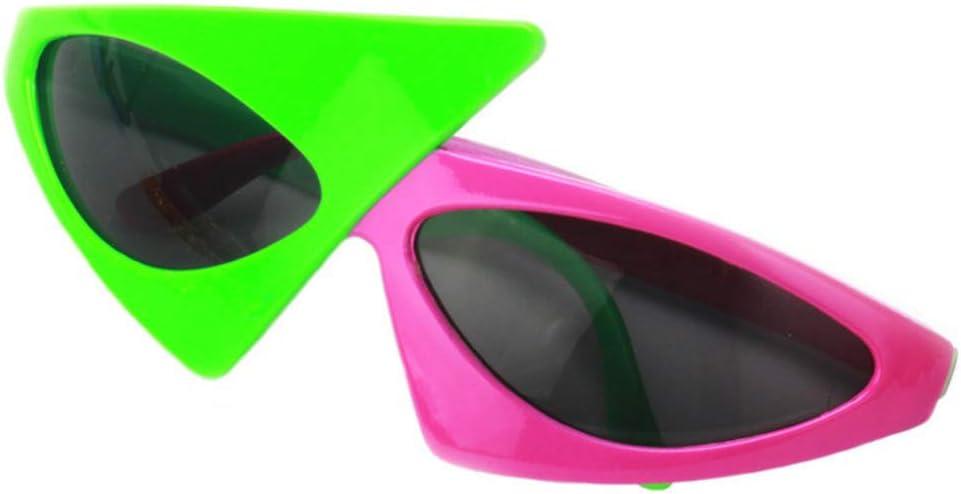 Nrpfell Occhiali da Sole Triangolari Asimmetrici Stile Hip-Hop novit/à Verde Rosa Colore Un Contrasto Occhiali Forniture per Feste Decorazione