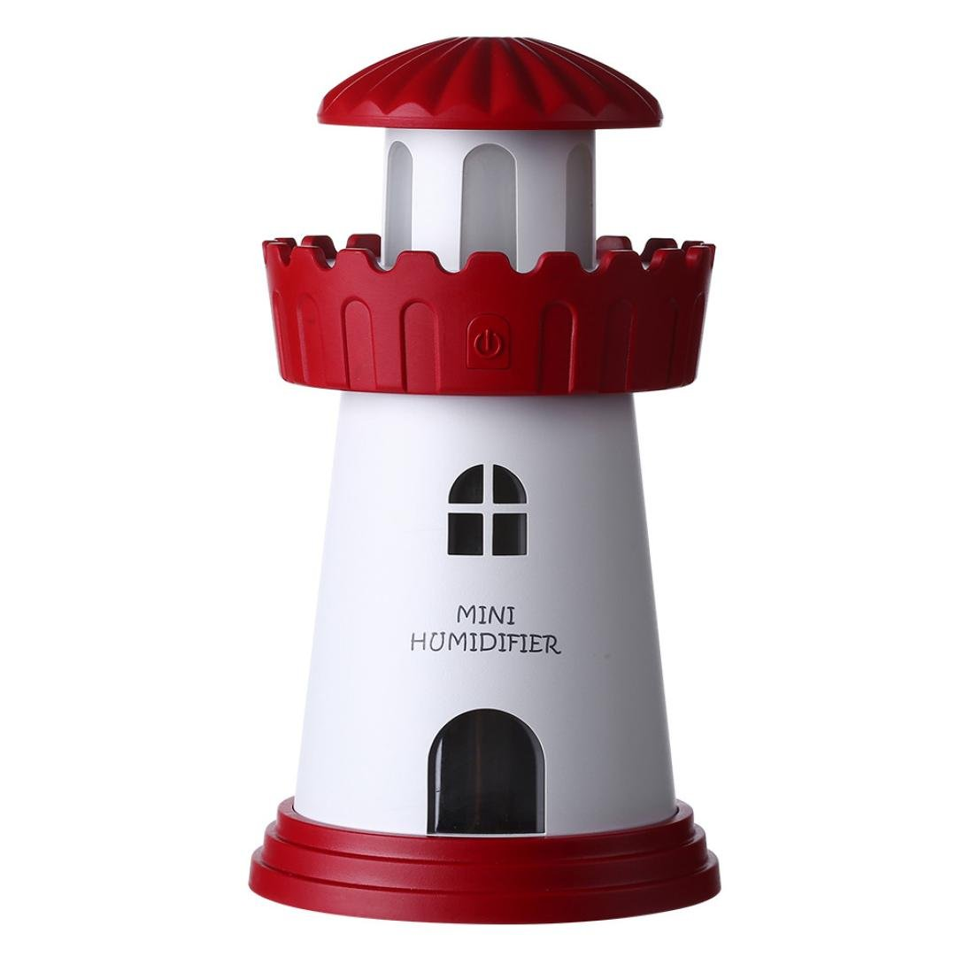 Kingfansion Lamp Humidifier Lighthouse LED Humidifier Air Diffuser Purifier Atomizer (Red)