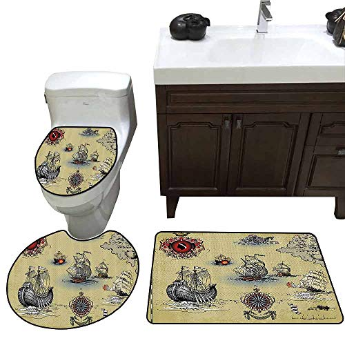 U-Shaped Toilet Floor Rug Set Compass Decor Antique Old Plan Discovery Ship Pirate Wave Compass Navigation Geography Theme Image Pattern Rug Set Beige Red Grey
