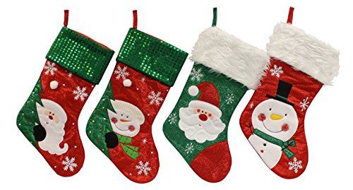 Country Snowman Stocking (Festive Shimmering Sparkling Christmas Holiday Sequins Snowman & Santa Designed Stockings, Red, Green, White, Multicolor, Large, Pack of 4, 16