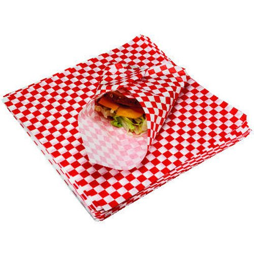 Bagcraft Papercon 057700 Grease Resistant Paper Wrap and Basket Liner, 12'' Length x 12'' Width, Red Check (5 Packs of 1000) by Bagcraft Papercon