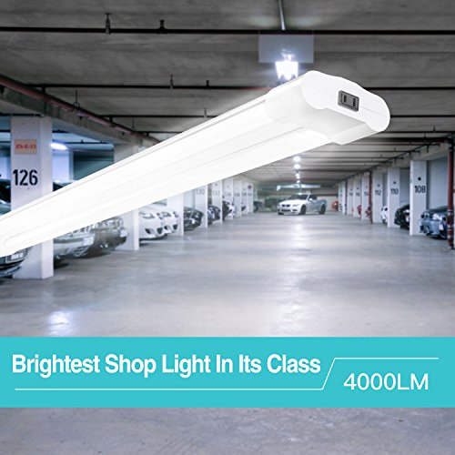 6 Pack Linkable LED Shop Lights for Garage, Amico 4FT 4000LM 5000K Daylight Double Integrated LED Garage Light by Amico (Image #1)
