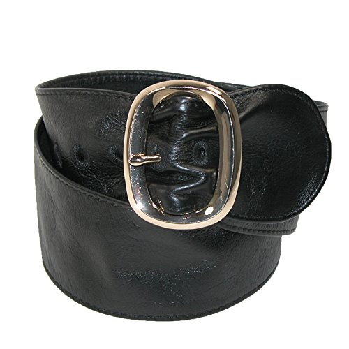 Landes Women's Italian Leather Sash Belt, Medium, Black