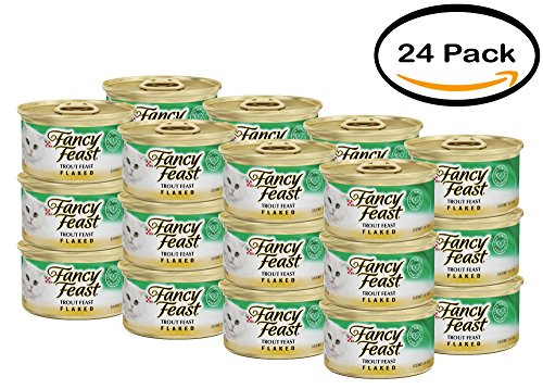 PACK OF 24 - Purina Fancy Feast Flaked Trout Feast Cat Food 3 oz. Can (Trout Flaked Fancy Feast)
