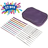 Pococina Mixed Aluminum Handle Crochet Hook Kit with 22pcs Knit Knitting Needles Gift Weave Yarn Set with Case