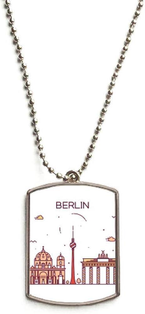 QQJSY Berlín Alemania Flat Landmark Pattern Acero Inoxidable Dog ...