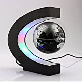Xin store C Shape Magnetic Levitation Floating 3 Inches Globe World Map with LED Light for Home & Office Decoration, Learning & Teaching (Silver/Black)