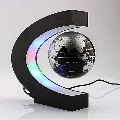 Xin-store-C-Shape-Magnetic-Levitation-Floating-3-Inches-Globe-World-Map-with-LED-Light-for-Home-Office-Decoration-Learning-Teaching-SilverBlack