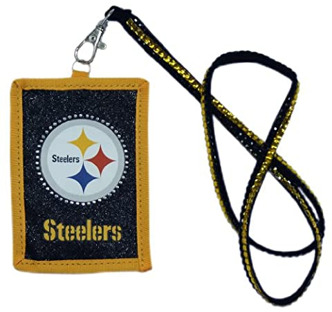NFL Pittsburgh Steelers Beaded Lanyard with Nylon Wallet - Pittsburgh Steelers Logo Nylon