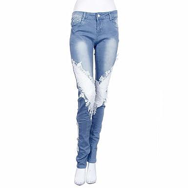 Ularma Jungen Jeans Hosen Für Männer Damen Jeans mit Spitzennähten Slim  Stretch Denim Shorts Fit Jogg 0c617f0e19