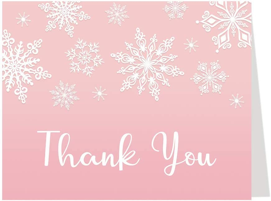 WINTER WONDERLAND THANK YOU CARDS BABY SHOWER PINK SNOWFLAKES LIL NOTES IT`S A GIRL ITS COLD OUTSIDE SNOWY SNOW SNOWING LITTLE SNOWFLAKE (50 COUNT)