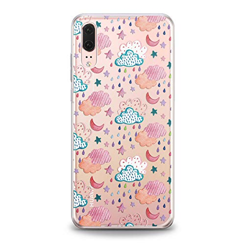 (Lex Altern Huawei Case 2017 Mate P20 Pro P10 Plus Phone Lite TPU 2018 New Clouds Abstract Clear Weather Pink Design Raining Pattern Cover Print Transparent Protective Lightweight Soft Silicone Gift)