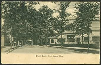 View up Church Street at North Adams MA undivided back postcard 1900s