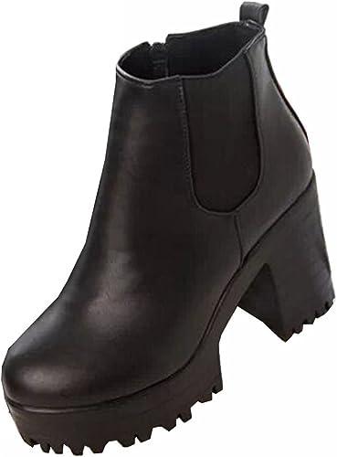 Primavera otoño de 2015 Mujeres Botas Plataformas Cuadrado Botines con tacón-Botas de Cuero Modo Motorcycle Boots decoración de Metal, Negro (Negro), 38.5 EU: Amazon.es: Zapatos y complementos