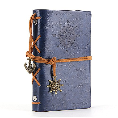 Leather Writing Journal Notebook, EvZ 5 Inches Vintage Nautical Spiral Blank String Diary Notepad Sketchbook Travel to Write in, Unlined Paper, Retro Pendants, Classic Embossed, Dark Blue