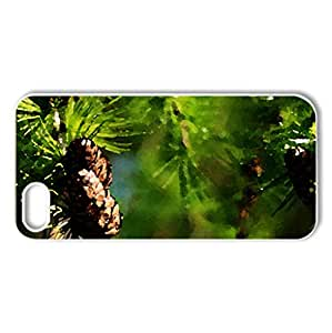 Winter Pine - Case Cover for iPhone 5 and 5S (Winter Series, Watercolor style, White)