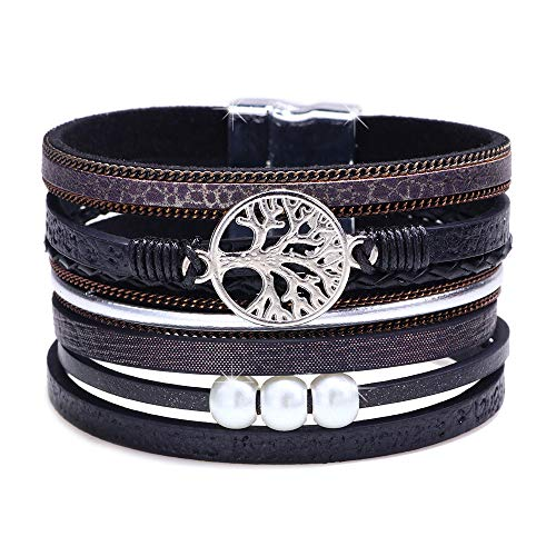 DESIMTION Wrap Around Bracelets for Women Family Boho Buckle Stacking Multilayer Leather Wide Magnetic Layered Bracelet Tree of Life Bracelets for Women Mom Teen Girls Grandma (Presents Good Christmas For Girls)