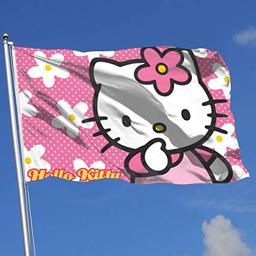LJIAQI Hello Kitty with Flower Flag 3x5 Ft Single-Sided Printed Polyester Home Flag Banner