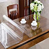 OstepDecor Custom 2mm Thick Crystal Clear Dining Room Table Protector - 110 x 46 Inch Kitchen Wood Grain Vinyl Transparent Table Cover Plastic Protective Table Pad