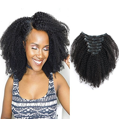 Beauty : Sassina Seamless Remi Human Hair Clip In Extensions 8A Grade Double Wefts Afro Kinky Curly Clip On Hair,Natural Looking 3C 4A For African Americans 120 Grams 7 Pc With 17 Clips AC 12 Inch