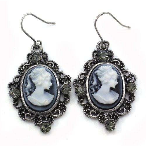 Grey Oval Lady Cameo Earrings Dangle Drop Style Rhinestones Fashion Jewelry