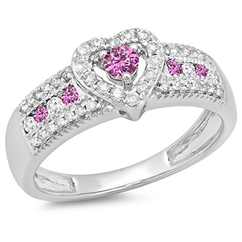 Natural Pink Sapphire Ring (10K White Gold Round Cut Pink Sapphire & White Diamond Ladies Bridal Heart Engagement Ring (Size 6))