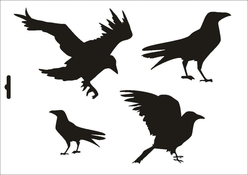 wallstencil Size A4 UMR-Design W-130 Raven Textil-