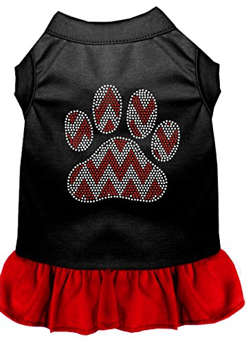 Mirage Pet Products 57-70 BKRDSM Candy Cane Chevron Paw Rhinestone Dog Dress, Small, Black Red from Mirage Pet Products